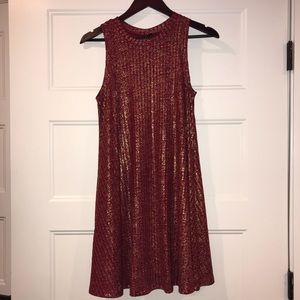Red dress with gold detailing